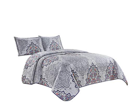 3-teiliges fein bedrucktes Oversize-Bettwäsche-Set (254 x 241,3 cm), wendbare Tagesdecke, Queen-Size-Bettbezug (grau, hellviolett, dunkelviolett, medaillons)