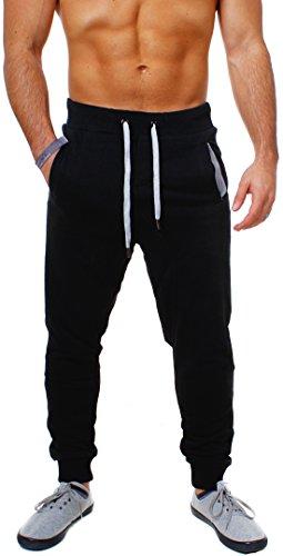 Young & Rich Herren Baggy Freizeithose Sporthose Sweatpants Jogginghose Trainingshose tief sitzend drop crotch low , Grösse:XL;Farbe:Schwarz