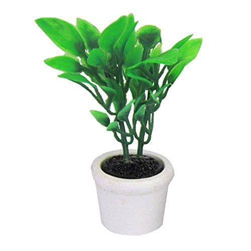 Trifycore Puppenstuben Mini Künstliche Bonsai Pot 12.01 Puppenhaus Miniatur-Garten-Accessoires grüne Pflanze in einem weißen Topf