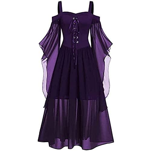 PDYLZWZY Vestido gtico para mujer de talla grande, con hombros fros, con volantes en la parte delantera, color oscuro, morado, 26 W/32 L