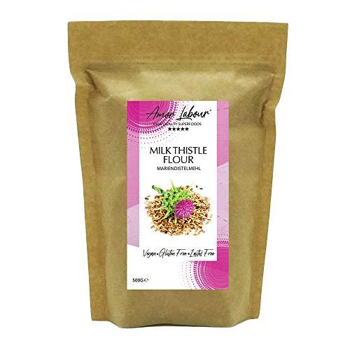Amor Labour ® Mariendistelsamen gemahlen 500g | 100% Natural Premium Mariendistelmehl | Superfood with Silymarin | Vegan | Glutenfrei | Mariendistel aus Ungarn