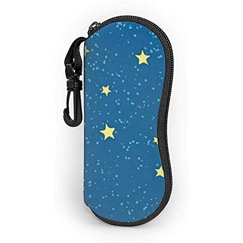 Funda para gafas con mosquetón, diseño de estrellas azules