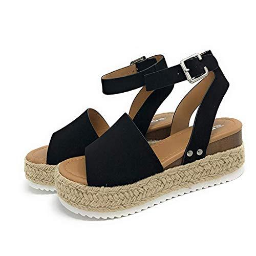 Sandalias Mujer Verano 2022 cáñamo Fondo Grueso Sandalias Punta Abierta Cuero Fondo Plano Zapatos Bohemias Romanas Hebilla Zapatillas