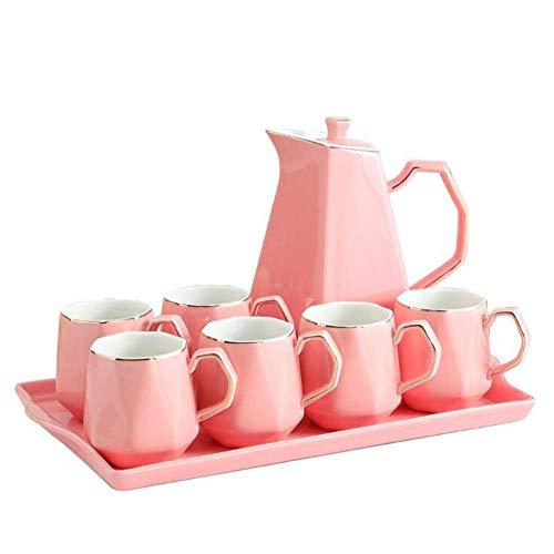 Juego de té de cerámica rosa de 8 piezas, servicio de té de cerámica para adultos, una tetera, juego de 6 tazas de café con bandeja