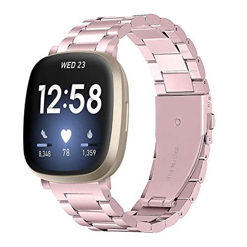 BFISOD Uhrenarmband für Fitbit Versa 3, Edelstahl verstellbares Armband für Frauen Männer Solides Sportuhrenarmband Armband Zubehörband für Fitbit Versa 3 / Versa Sense Smart Watch (A07)