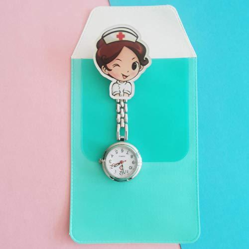Reloj médico para enfermería,Doctor Enfermera Reloj de Bolsillo, Mesa de Examen para Estudiantes Reloj para niños de Dibujos Animados-II,Broche Movimiento Cuarzo Clip Reloj