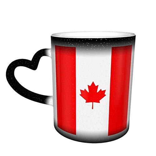 Hdadwy Wärme ändernde Keramik-Kaffeetasse, kanadische Flagge von Kanada Ahornblatt-empfindliche magische Teetasse für Kaffee, Tee, Milch oder Kakao für Männer Frauen Neuheit Geschenk