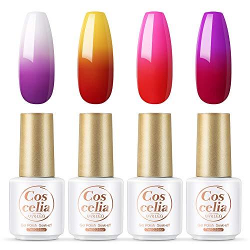 Coscelia UV Nagellack, 4pc Temperaturänderung Farbe Gel nagellack set 7ml UV Gellack Geeignet für Anfänger und Nagelprofis
