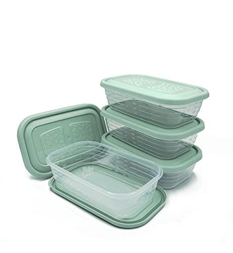 Unishop Set de 5 Recipientes de Plástico para Comida, Fiambreras Sin BPA, Táper Apto para Microondas, Congelador y Lavavajillas, de Colores Pastel (Verde, 3700ml)