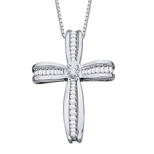 Oro bianco 14K 7/8ct. Rotondo e baguette taglio diamante ciondolo a forma di croce con catena