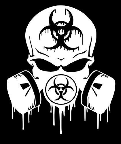 MWht Skull Dripping Biohazard Respirator Decal Vinyl Sticker Graphics|UR Impressions|for Cars Trucks SUV Vans Walls Windows Laptop|Matte White|5.5 X 5 inch|URI349-MW