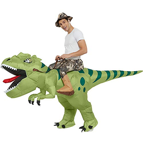 One Casa Inflatable Dinosaur Costume Riding T Rex Air Blow up Funny Fancy Dress Party Halloween Costume for Adult