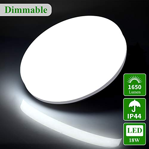 Öuesen 18W LED Lámpara de Techo, Plafón LED Redondo Ø24cm 3 Color Modos, Moderno Lámpara 1650LM para Baño Dormitorio Garaje Almacén, IP44 [Clase de eficiencia energética A++]