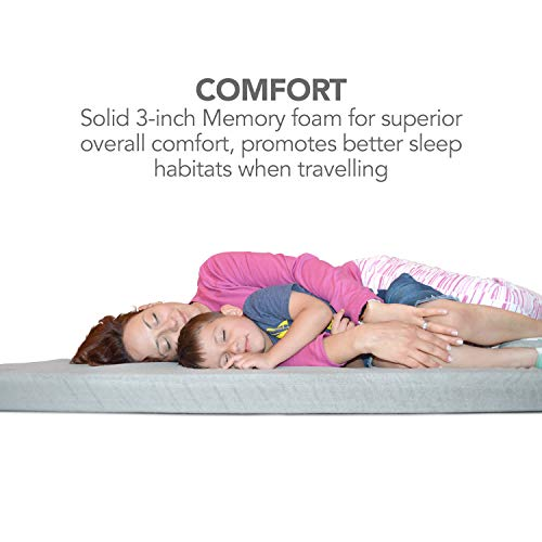 Better Habitat CertiPUR-US SleepReady Solid Memory Foam Floor & Camping Mattress (75 x 36 x 3). 100% Memory Foam Roll Out, Portable Sleeping Pad, Waterproof Cover & Travel Bag.