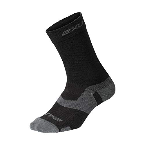 2XU UK Herren Vectr Merino Light Cushion Crew Socken, Schwarz/Titanium, Größe S