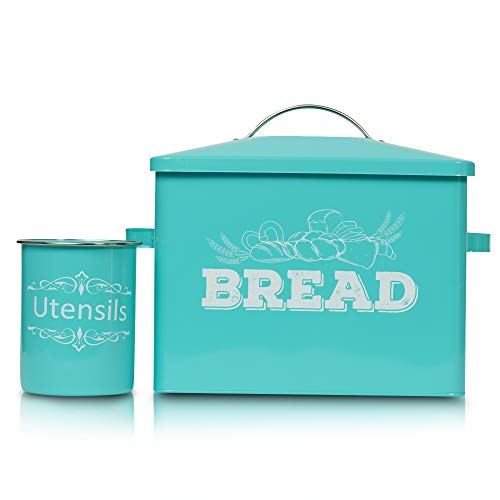 Bread Box with Utensils Holder Set – 12 x 16 x 7.75 Inch Metal Bread Container – Premium Bread Holder for Countertop – Elegant and Stylish Design – Food Grade Material – Space Saver -Teal