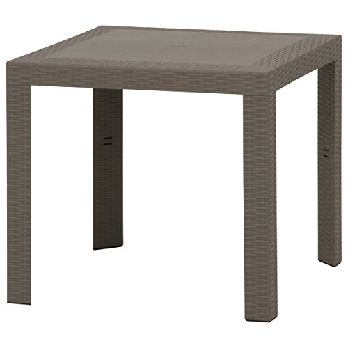 不二貿易 ガーデン プラスチック モダン テーブル ステラ 80x80cm 野外 屋外 使用 可能 グレー