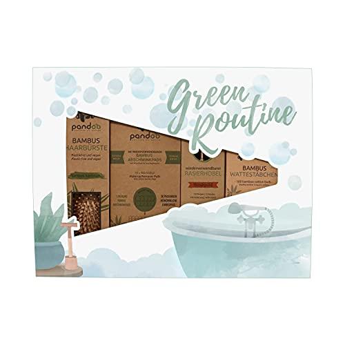 pandoo Kit de salle de bain « Green Routine »   Sans plastique et durable   Brosse à cheveux, tampons démaquillants lavables, rasoir de sécurité et cotons-tiges