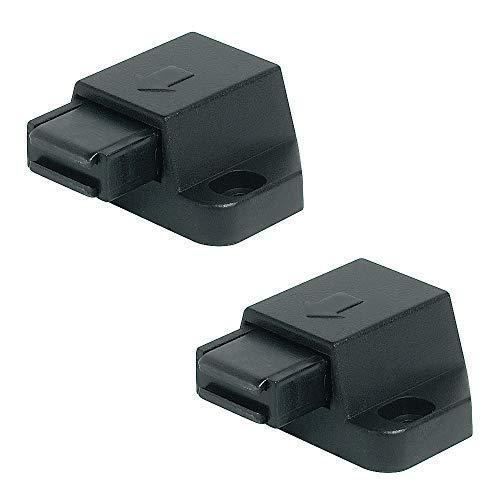 Gedotec Magnet-Druckverschluss für 1-flügelige Glastüren & Möbel | Doppel-Schnäpper Haftkraft 1,8 kg | Magnet-Schnäpper schwarz | Push-top Open Schnäpper zum Schrauben | 2 Stück - Druckschnäpper Glas