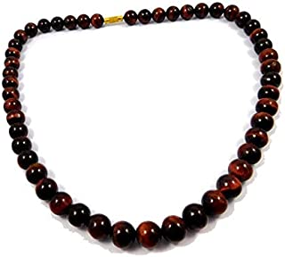 Zoya Gems & Jewellery 8MM Red Tiger Eye Necklace for Men, Beaded Choker Red Tiger Eye Necklace. Beaded Necklace. Red Tiger...