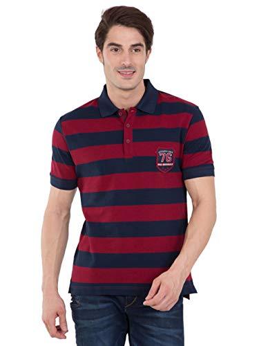Jockey Men's Cotton T-Shirt (8901326138601_US93_Large_Navy and Deep Red)