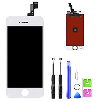 QTlier iPhone 5s Screen Replacement 4.7  White LCD Display & Touch Screen Digitizer with 3D Touch Frame Assembly Set for iPhone 5s 4.7 inch with Repair Tool kit