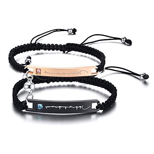 MEALGUET A Pair Custom Magnetic Couples Bracelets Mutual Attraction Personalized Nameplate Braided ID Bracelets Matching Lover Bracelets for Him Her