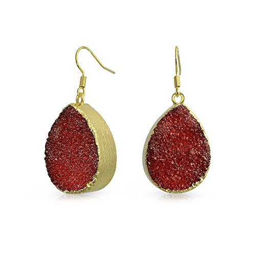 Boho Pera Gota Piedras Preciosa Rojo Naranja Orgánico Druzy Colgante Pendiente Mujer Adolescente Metal Chapadooro 14K