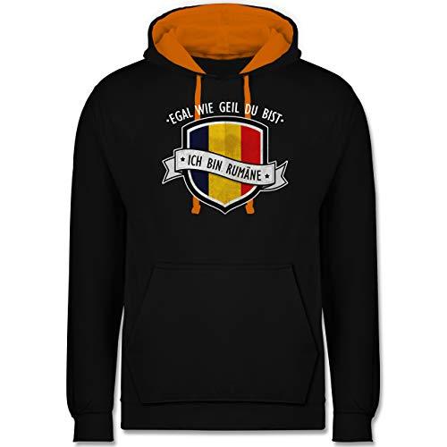 EM 2021 Länder Fahnen und Flaggen - Egal wie geil du bist - ich Bin Rumäne - XS - Schwarz/Orange - Romania Pullover - JH003 - Hoodie zweifarbig und Kapuzenpullover für Herren und Damen