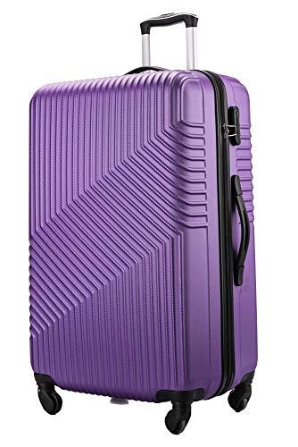 Flymax 29' Large Suitcases 4 Wheel Spinner Super Lightweight Luggage Hard Shell Durable Check in Hold Built-in 3 Digit Combination Purple