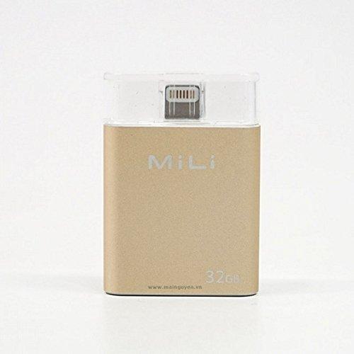 MiLi USB Flash Drive [Apple MFi Certified] iData 32GB Portable Storage USB Flash Drive Specialized for iPhone 6/6 plus/5/5s/5c/ipad 4/ipad Mini/i Mac/iPod with Lightning Device - Gold