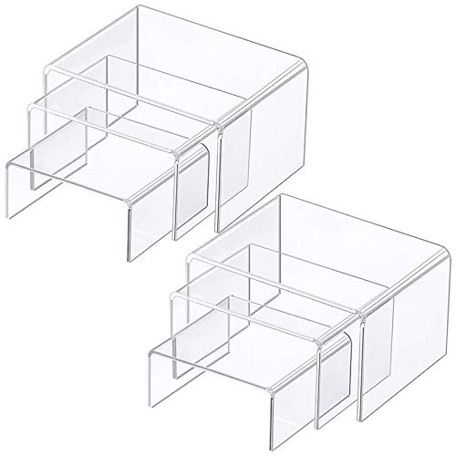 Mogzank Display Risers Clear Acrylic Riser Shelf Showcase Fixtures Jewelry Collectibles Display Stands for Figures