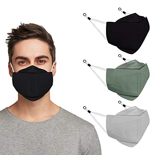 Indotribe 3D Anti Fogging Cloth Face Mask With Nose Wire & Adjustable Earloops (Pack of 3)