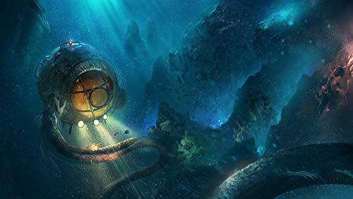 YUBYUB Rompecabezas para adultos 1000 de madera, juego de puzzle para descomprimir DIY Navidad juego de cumpleaños regalo creativo Sirena Mar Monstruo submarino/75 x 50 cm