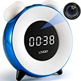 LIVCRT Multi Function Alarm Clock Colorful Night Light with HD 4K Hidden Camera for Child Nanny Parents in Home Office Nursing Home Via Android iOS PC APP (Blue)