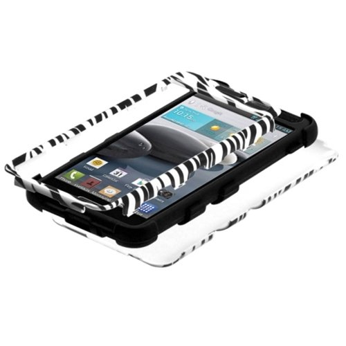 MYBAT TUFF Hybrid Phone Protector Cover for LG Optimus F6 D500/MS500 - Retail Packaging - Zebra/Black