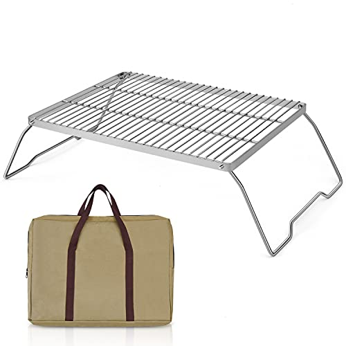 Gonioa Folding Campfire Grill with Legs & Carrying Bag, 304 Stainless Steel Grate Barbeque Grill, Portable Camping Grill with Legs and Carrying Bag for Backpacking, Hiking, Picnics, Fishing