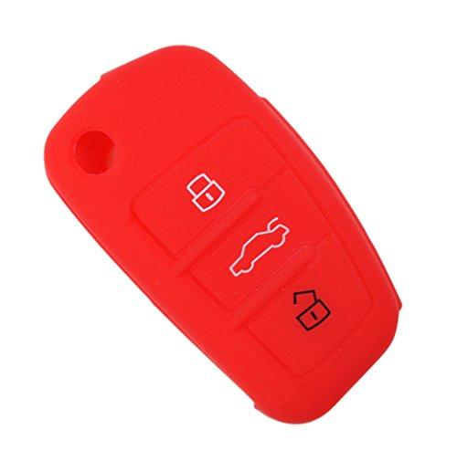 Happyit Silicone Voiture Clé à Distance Fob Shell Couverture Cas pour Audi Sline A3 A5 Q3 Q5 A6 C5 C6 A4 B6 B7 B8 TT 80 S6 (Rouge)