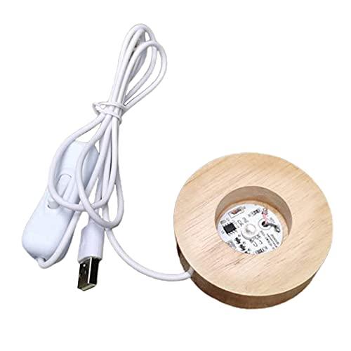 FLAMEER Base de madera redonda lámpara de mesa Led con puerto USB y interruptor, moderna luz nocturna acrílico Led Craft Display Base 70mm - Colorful Light