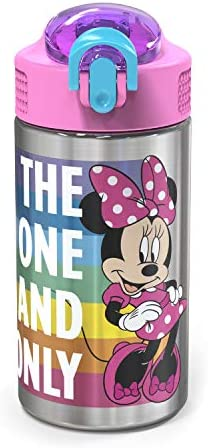 Zak Designs Disney 18 8 Stainless Steel Kids Water Bottle with Flip up Straw Locking Spout Cover product image
