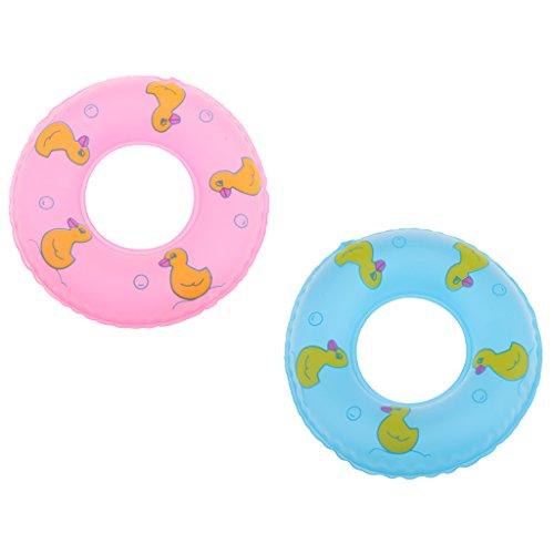 2 Stück Miniatur Aufblasbare Schwimmring / Schwimmreifen für 1/6 Blythe BJD Puppen Zubehör ( Pink & Blau )