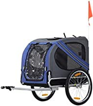 Aosom Dog Bike Trailer Pet Cart Bicycle Wagon Cargo Carrier Attachment for Travel with 3 Entrances Large Wheels for Off-Road & Mesh Screen - Blue/Grey