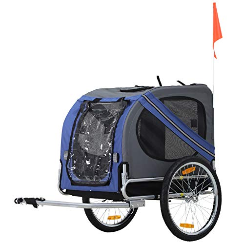 PawHut Folding Dog Bike Trailer Pet Cart Carrier for Bicycle Travel in Steel Frame - Blue & Grey