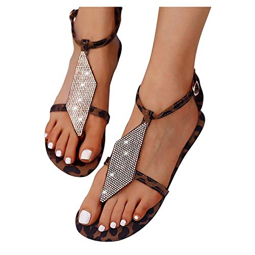 FABIURT Summer Sandals for Women Dressy Flat Sandals - Sparkling Elastic Strappy Thong Ankle Strap Sandals for Women Brown