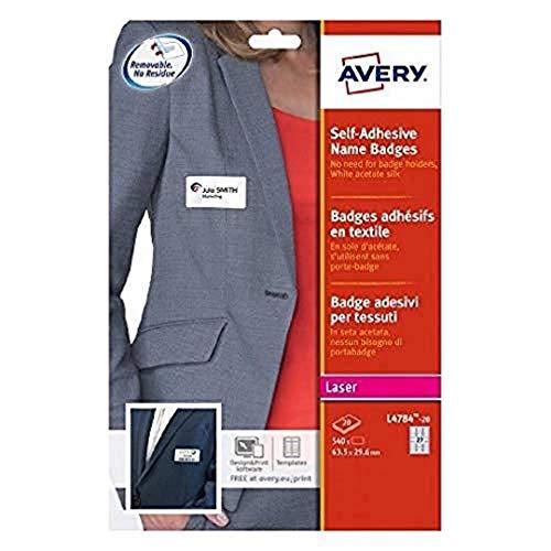 Avery L4784-20 Badge Adesivi, Stampanti Laser, 20 Fogli, 63.5 x 29.6, Bianco