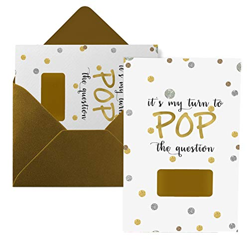 Shimmer Ask My Bridesmaid Scratch Off Cards (8 Pack) with Maid of Honor and Matron - Pop the Question to My Best Friends - Can't Without You - Bridal Proposal Invite Set and Antique Gold Envelopes