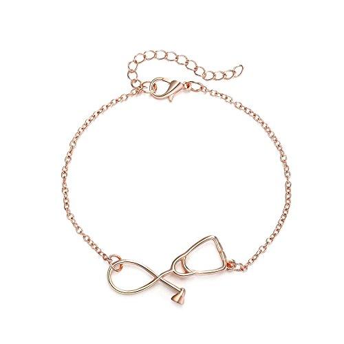 Rosa Vila Stethoscope Bracelet, Gift for Nurses, Physician Assistants, Doctors, Medical Student Jewelry, Nurse Jewelry, Nurse Gifts for Women, Nursing Gifts, Nursing Student Gifts (Rose Gold Tone)