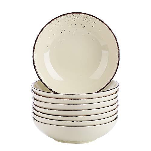 Vancasso Suppenteller, Navia 8 teilig Tiefteller bunt aus Steingut, Ø 22 cm, Geschirr Tellerset Suppenschalen, beige gelb