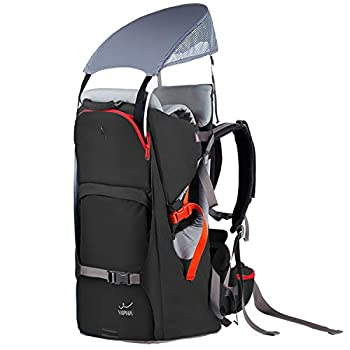 WIPHA Baby Backpack Carrier Ergonomic Child Carrier Hiking with Sun Canopy Safe Toddler Hiking Backpack Carrier with Large Storage Space&Insulated Pocket Adjustable Padded Child Seat Black