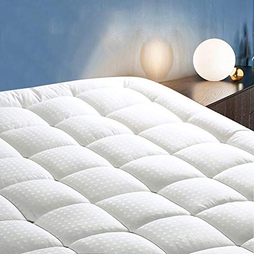 """COTTONHOUSE Queen Mattress Pad Pillow Topper Cooling Soft Cotton Top Bed Cover with Deep Pocket Fits Up to 21"""" Quilted Fitted Mattress Topper"""